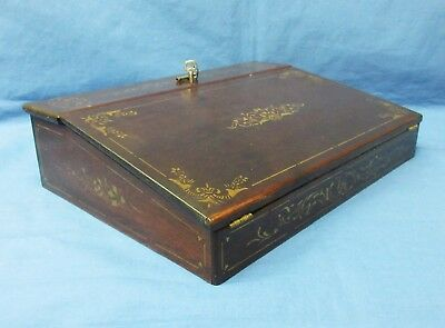 Antique Lap Top Desk 1800's With 2 Keys Gold Stenciling, Compartments, Traveling