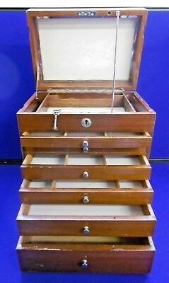 Antique Wooden Apothecary Cabinet With Key