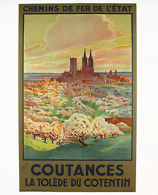 COUTANCES Original Travel Poster France, um 1920/1925