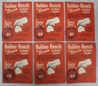 Vtg Lot/6 Heuck Rubber-Rench Screw Cap Removers/lid Openers-Old Store Stock