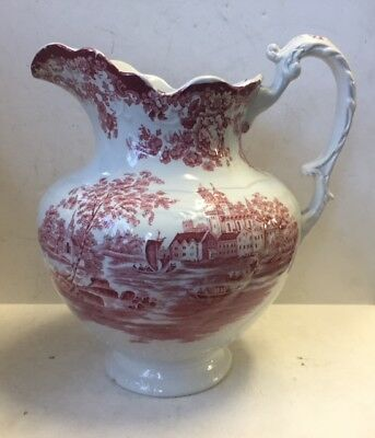 Antique Colonial Pottery  TOGO  China Pitcher Red White transferware  Large jug