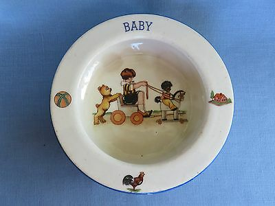 Vintage Czech Baby Dish with Teddy Bear and Black Doll