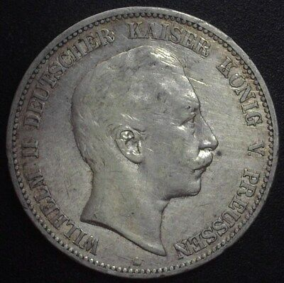 Prussia 1903-A Silver 5 Mark -German State- About Uncirculated