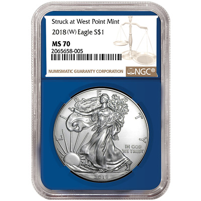 2018 (W) $1 American Silver Eagle NGC MS70 Brown Label Blue Core