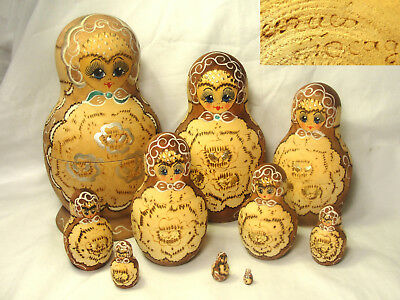 """10pc Set Signed Cepzueb Nocag Russian Nesting Dolls 1/2"""" to 7"""" Hand Painted Vtg"""
