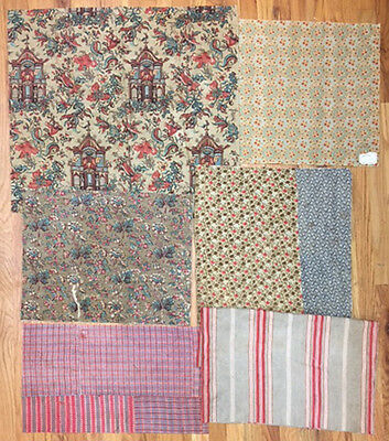 Beautiful Bundled Lot of 18th, 19th and 20th Century Printed Fabrics (2046)