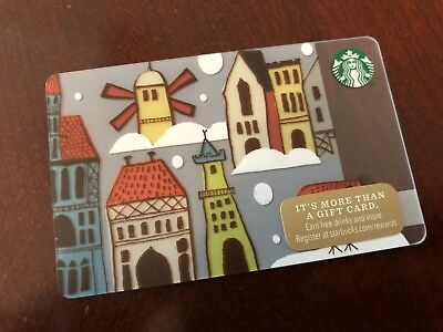 2014 Starbucks Coffee Old Village Town City Windmill Europe Gift Card