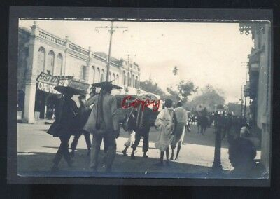 Real Photo Shanghai China Downtown Street Scene Stores Postcard Copy