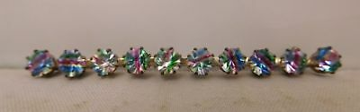 Vintage Multip Color Arts And Crafts Cz Gemstone Rainbow Long Brooch Pin