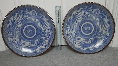 2 Antique Porcelain Meiji Period Japanese Plate Chargers Transferware 1862 On