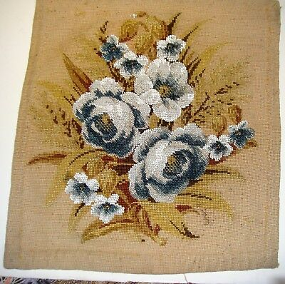 Pretty Antique Bead Work Panel With Roses