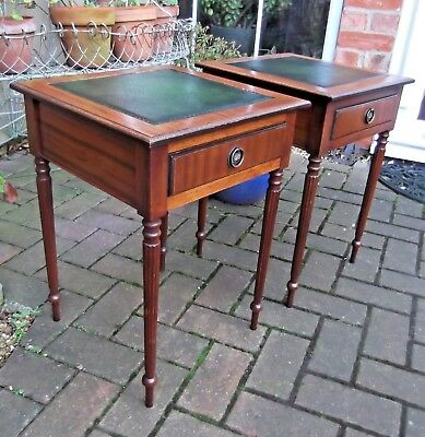 Pair Antique Style Inlaid Side Lamp/wine Tables~New Green Leather~With Drawers