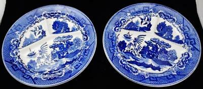 "Set of 2 Antique Blue Willow 10 1/4"" Grill Plates Made in Japan"