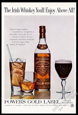 1960 Power's Gold Label Irish Whiskey bottle rocks highball coffee pic print ad