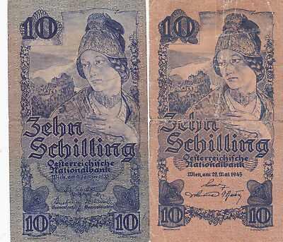 2 Different 10 Schilling Fine Banknotes From Austria 1933&1945!pick-99-115