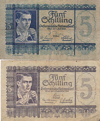 2 Different 5 Schilling Fine Banknotes From Austria 1927&1945!pick-93-114