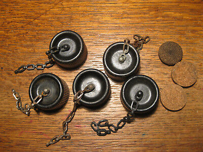Original WWII US Canteen Caps Chains and Corks Lot of 5 ** LAST ONES**