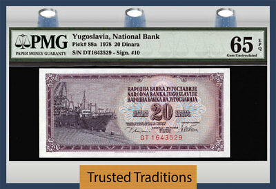 TT PK 88a 1978 YUGOSLAVIA NATIONAL BANK 20 DINARA PMG 65 EPQ GEM UNCIRCULATED!