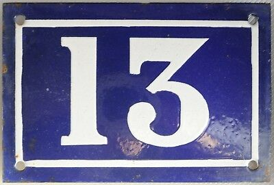 Old blue French house number 13 door gate plate plaque enamel steel sign c1950