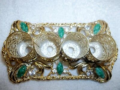 Vintage Ornate Four Tube Lipstick Holder-Filigree With''jewels'' Never Used