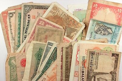 Lot of 31 Vintage Mixed Foreign World Currency Paper Money