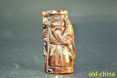 Fine Collectible Resin Amber Handwork Carve Old Man Exquisite Statue