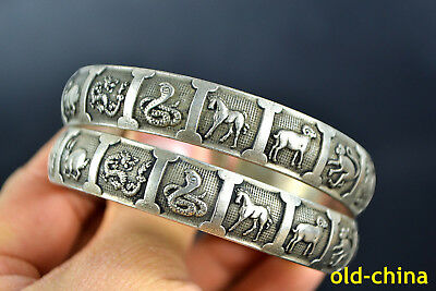 nice Collectible Decorate Old Tibet Silver 12 Animal Zodiac Pair hand Bracelet