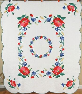 COLORFUL Vintage Floral Wreath Applique Antique Quilt ~Poppies, Wheat  & Tulips!