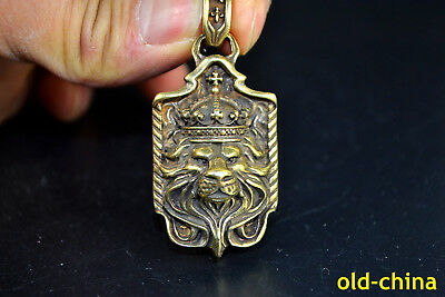 China Vintage Collectible Old handwork copper carve Crown Lion Pendant