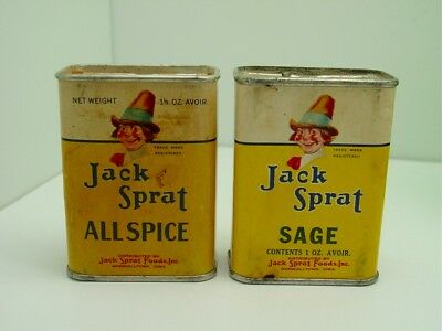 2  Vintage Jack Sprat SAGE-ALLSPICE  Tins-Metal Tops-Canco- MARSHALLTOWN IOWA