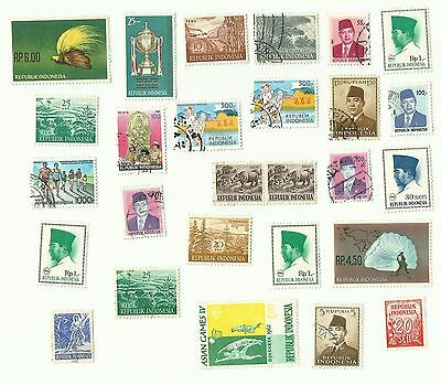 Indonesia postage stamps x 27, off paper, used