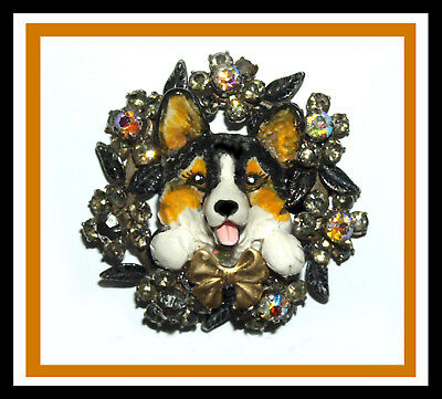 Sonnett Original Tri CORGI Sculpture in a Sparkling Fancy Lapel Pin, OOAK!