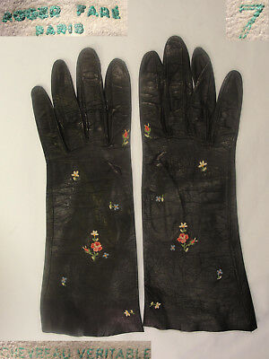"Vtg Roger Fare 11"" Long French Black Kid Leather Embroidered Gloves Paris 7"