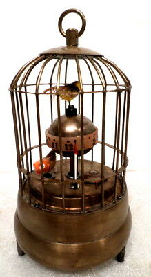 Double Animated Bird in Brass Cage Clock
