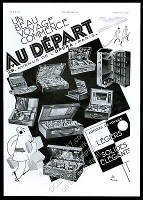 1931 Au Depart luggage steamer wardrobe trunk cosmetics cases French print ad