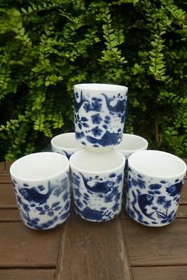 6 Chinese Handpainted Blue & White Cups Beakers Signed