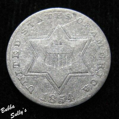 1854 III Cent Silver <> VERY FINE