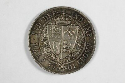 Great Britain 1901 Half Crown Victoria Silver Coin 1/2 Crown Ex Jewelry