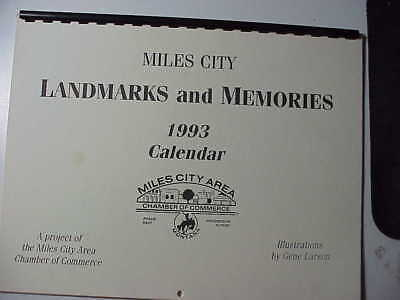 Miles City Montana 1993 Caleder With 12 Gene Larson Pointillism Drawings