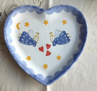 "ANGELS WHIMSICAL HEART PLATTER PLATE MESA INTERNATIONAL  Moon & Stars  11"" Angel"