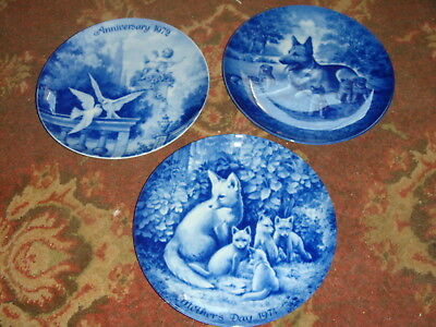 3 Kaiser Collector Plates - 1972 Anniversary, 1974, 1975 Mother's Day