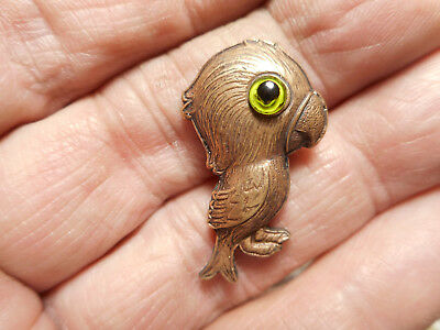 "Realistic Brass Parrot Bird w/ Green Glass Eyes Vintage Button 1-1/4"" NP"