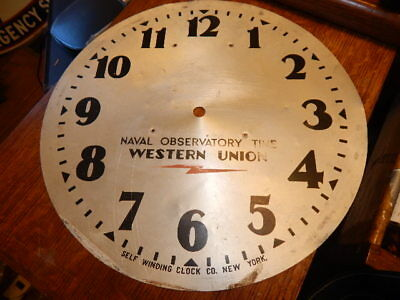 "Old original 13"" Dial Naval Observatory Time Western Union-Self Winding Clock Co"