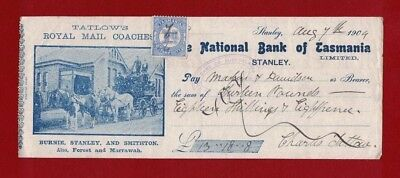1904 Australia Tasmania Nat. Bank Heritage Cheque with 1d blue stamp duty