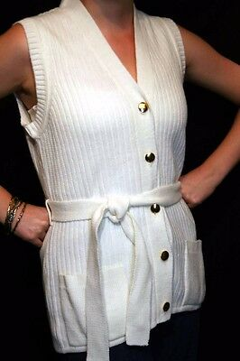 S White Knit Vtg 60s Belted Sweater Girl California Long Belted Cardigan Vest