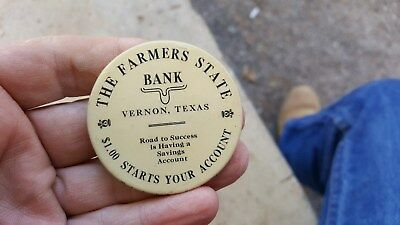 old Pocket Mirror,Farmers State Bank,Vernon,Texas. $1.00 Starts Your Account
