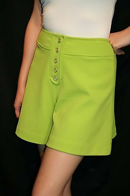 S-M MOD Lime Green Knit Vtg 70s Jantzen Button Shorts Mini Skirt Skort Culotte