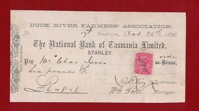 1896 Australia Tasmania Nat. Bank Heritage Cheque with 1d QV SG 127 to 164