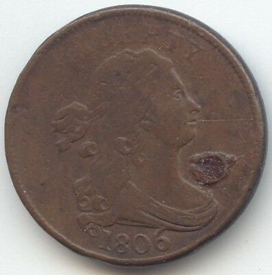 1806 Draped Bust Half Cent, VG Details, Hole, Rotated Reverse, True Auction