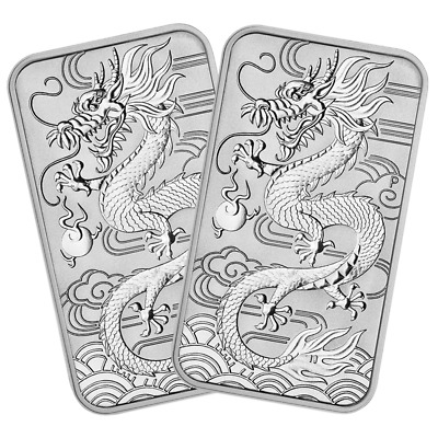 Lot of 2 - 2018 $1 Silver Australian Dragon Rectangle 1 oz Brilliant Uncirculate